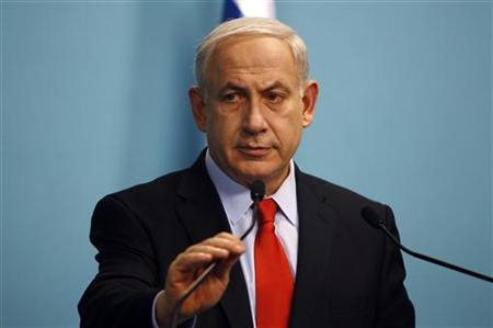 Israel's Prime Minister Benjamin Netanyahu delivers a statement at his office in Jerusalem July 19, 2012. REUTERS/Ammar Awad