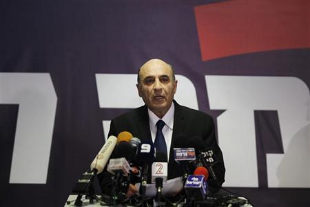 Kadima party leader Shaul Mofaz speaks during a news conference in Petah Tikva, near Tel Aviv July 17, 2012. REUTERS/Baz Ratner