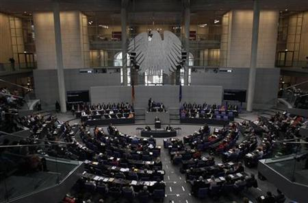 The plenary of the Reichstag building, seat of the German lower house of parliament Bundestag, is pictured during a session in Berlin, July 19, 2012. REUTERS/Tobias Schwarz