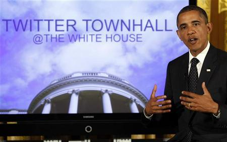U.S. President Barack Obama talks to the audience during his first ever Twitter Town Hall in the East Room at the White House in Washington, July 6, 2011. REUTERS/Larry Downing