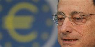 The European Central Bank (ECB) President Mario Draghi speaks during the monthly news conference in Frankfurt, January 12, 2012. REUTERS/Alex Domanski