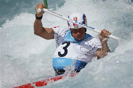 Slovakia's Michal Martikan competes in the men's canoe single (C1) 1st run heat at Eton Dorney at the London 2012 Olympic Games July 29, 2012. REUTERS/Lucy Nicholson