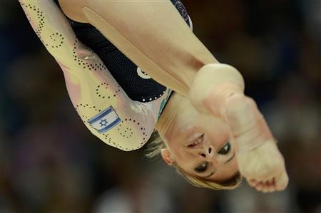 Valeriia Maksiuta of Israel performs on the balance beam during the women's gymnastics qualification at the North Greenwich Arena during the London 2012 Olympic Games July 29, 2012. REUTERS/Dylan Martinez