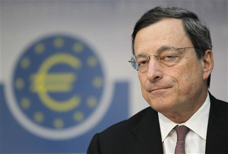 Mario Draghi, President of the European Central Bank (ECB), addresses the media during his monthly news conference at the ECB headquarters in Frankfurt, in this July 5, 2012 file photo. REUTERS/Alex Domanski/Files