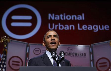U.S. President Barack Obama speaks at the 2012 National Urban League Conference at the Ernest N. Morial Convention Center in New Orleans July 25, 2012. REUTERS/Larry Downing