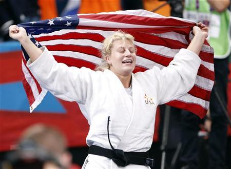 Kayla Harrison of the U.S. celebrates after defeating Britain's Gemma Gibbons in their women's -78kg final judo match at the London 2012 Olympic Games August 2, 2012. REUTERS/Darren Staples