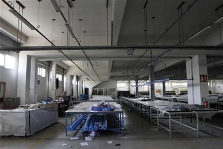 The empty working floor is seen at one of four factories in Sale near the capital of Rabat February 8, 2011. REUTERS/Youssef Boudlal