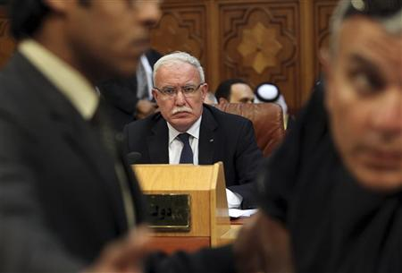 Palestinian Foreign Minister Riyad al-Malki attends the opening of a meeting of Arab League foreign ministers at the Arab League headquarters in Cairo April 26, 2012. REUTERS/Mohamed Abd El Ghany
