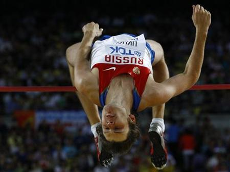Ivan Ukhov of Russia competes during the men's high jump final at the IAAF World Championships in Daegu September 1, 2011. REUTERS/Kai Pfaffenbach