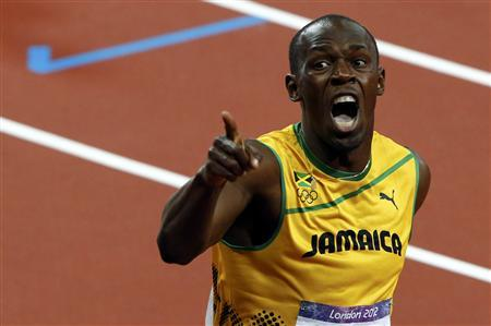 Jamaica's Usain Bolt reacts after he won the men's 200m final during the London 2012 Olympic Games at the Olympic Stadium August 9, 2012. REUTERS/David Gray