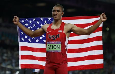 Eaton Ashton of the U.S. celebrates winning the men's decathlon during the London 2012 Olympic Games at the Olympic Stadium August 9, 2012. REUTERS/Lucy Nicholson