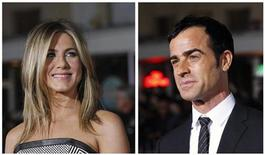 "A combination picture shows cast members Jennifer Aniston (L) and Justin Theroux (R) posing at the premiere of ""Wanderlust"" at the Mann Village theatre in Los Angeles February 16, 2012. REUTERS/Mario Anzuoni/Files"