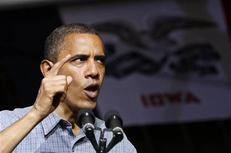 U.S. President Barack Obama speaks at a campaign event at Herman Park in Boone, Iowa, August 13, 2012. REUTERS/Larry Downing