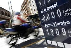 A price board is pictured at a petrol station in downtown Rome March 13, 2012. REUTERS/Tony Gentile