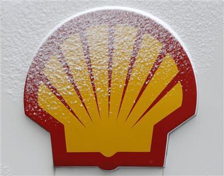 Snow covered Shell logo is seen at a petrol station in Istanbul February 17, 2012. REUTERS/Osman Orsal
