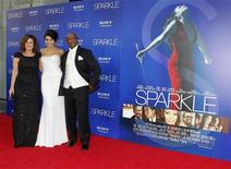 """Cast member Jordin Sparks (C) poses with her mother Jodi Weidmann Sparks (L) and father Phillippi Sparks at the premiere of """"Sparkle"""" in Hollywood, California August 16, 2012. REUTERS/Fred Prouser"""