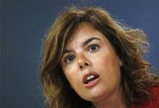 Spain's Deputy Prime Minister Soraya Saenz de Santamaria gestures during a news conference after the weekly cabinet meeting at Moncloa Palace in Madrid August 24, 2012. REUTERS/Juan Medina