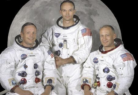 The Apollo 11 crew of U.S. astronauts Neil Armstrong, (L) who was the Mission Commander and the first man to step on the moon, Edwin ''Buzz'' Aldrin, (R), who was the Lunar Module Pilot, and Michael Collins, (C) who was the Command Module pilot are pictured in this NASA studio file image, dated May 1, 1969. Armstrong, has died at the age of 82, U.S. media reported on August 25, 2012. REUTERS/NASA/Handout