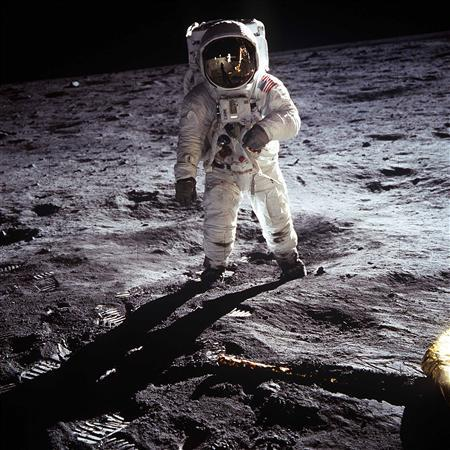 This NASA file image shows Apollo 11 U.S. astronaut Buzz Aldrin standing on the Moon, next to the Lunar Module ''Eagle'' (R), in this July 20, 1969 file photo. REUTERS/Neil Armstrong-NASA/Handout