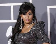 """Television personality Nicole """"Snooki"""" Polizzi arrives at the 53rd annual Grammy Awards in Los Angeles, California, February 13, 2011. REUTERS/Danny Moloshok"""