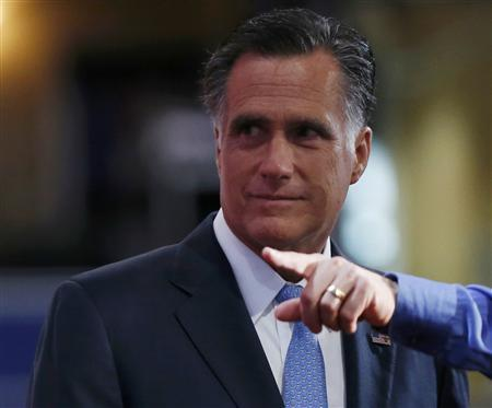 Republican presidential nominee Mitt Romney is shown around the stage during a walk through before the fourth day of the Republican National Convention in Tampa, Florida, August 30, 2012. REUTERS/Eric Thayer