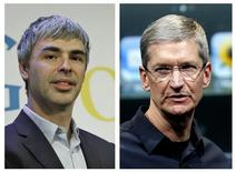 A Combination photo showing Google CEO Larry Page (L), in New York, in this May 21, 2012 file photo and Apple CEO Tim Cook in Cupertino, California in this October 4, 2011 file photo. REUTERS/Files