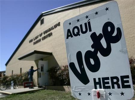 A voter enters a polling station to cast his vote in the Texas Primary in Seguin March 4, 2008. REUTERS/Jessica Rinaldi