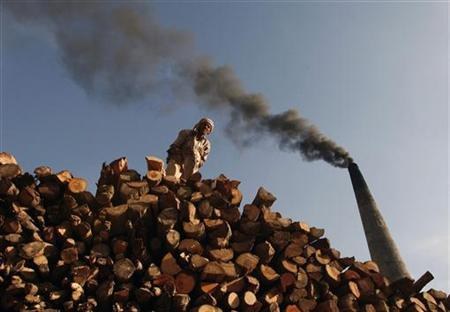 A labourer stacks firewood for use in a brick kiln as smoke billows from a chimney on the outskirts of Jammu May 2, 2012. REUTERS/Mukesh Gupta