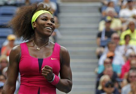 Serena Williams of the U.S. celebrates match point against Andrea Hlavackova of the Czech Republic during their women's singles match at the U.S. Open tennis tournament in New York September 3, 2012. REUTERS/Gary Hershorn