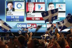 Parti Quebecois supporters cheer during the announcement that Quebec Premier Jean Charest was defeated in his riding by Parti Quebecois candidate Serge Cardin while watching the results from the Quebec provincial election in Montreal, September 4, 2012. REUTERS/Christinne Muschi