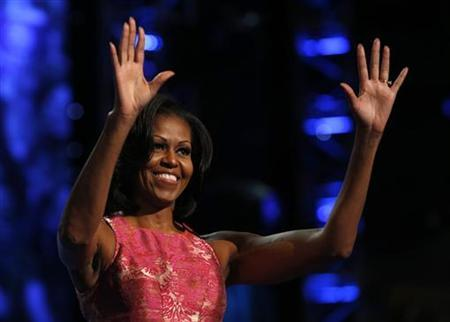 U.S. first lady Michelle Obama waves after addressing the first session of the Democratic National Convention in Charlotte, North Carolina, September 4, 2012. REUTERS/Eric Thayer
