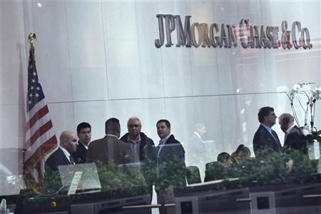 The lobby of JP Morgan headquarters is photographed through a window in New York May 22, 2012. REUTERS/Eduardo Munoz