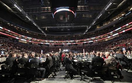 NHL hockey coaches and administration personnel gather at Consol Energy Center for the first round of the NHL draft in Pittsburgh, Pennsylvania, June 22, 2012. REUTERS/Jason Cohn