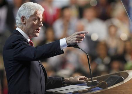 Former U.S. President Bill Clinton addresses the second session of the Democratic National Convention in Charlotte, North Carolina, September 5, 2012. REUTERS/Jonathan Ernst