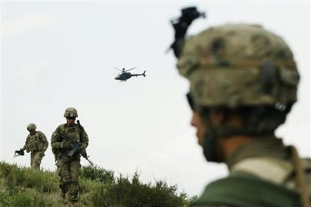 A helicopter flies over the heads of paratroopers in Afghanistan's Paktiya province July 14, 2012. REUTERS/Lucas Jackson