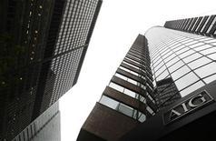 <p>American International Group, à suivre lundi sur les marchés américains. Le Trésor américain a annoncé dimanche qu'il allait céder la quasi-totalité de sa participation dans l'assureur, ne conservant qu'une participation minoritaire dans le groupe qu'il avait sauvé de la faillite en 2008. /Photo d'archives/REUTERS/Eric Thayer</p>