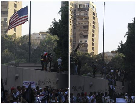 A combination picture shows protesters shouting slogans before (L) and after pulling down an American flag in front of the U.S. embassy in Cairo September 11, 2012. REUTERS/Amr Abdallah Dalsh