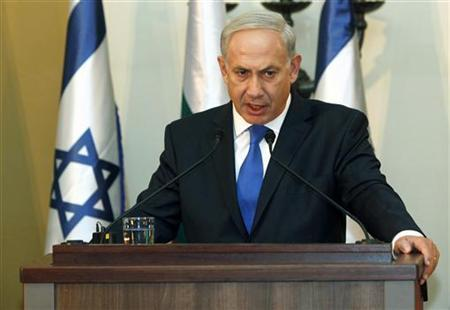 Israeli Prime Minister Benjamin Netanyahu speaks during a joint news conference with his Bulgarian counterpart Boiko Borisov (not pictured) in Jerusalem September 11, 2012. REUTERS/Gali Tibbon/Pool