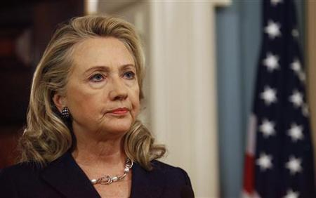 U.S. Secretary of State Hillary Clinton delivers remarks at the State Department in Washington September 12, 2012, on the deaths of U.S. embassy staff in Benghazi. REUTERS/Gary Cameron
