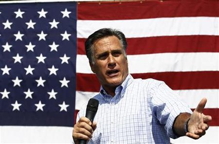 U.S. Republican presidential nominee and former Massachusetts Governor Mitt Romney speaks at a campaign rally in Fairfax, Virginia, September 13, 2012. REUTERS/Jim Young