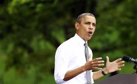U.S. President Barack Obama speaks at a campaign rally at Eden Park in Cincinnati, Ohio September 17, 2012. REUTERS/Kevin Lamarque