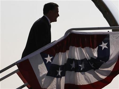 U.S. Republican presidential nominee and former Massachusetts Governor Mitt Romney boards his campaign plane in Salt Lake City, Utah, September 18, 2012. REUTERS/Jim Young