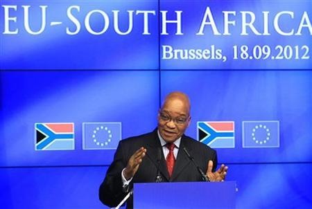 South African President Jacob Zuma speaks at a news conference at the end of a European Union-South Africa summit in Brussels September 18, 2012. REUTERS/Yves Herman