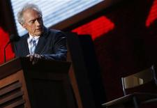 Actor Clint Eastwood addresses an empty chair and questions it as if it is U.S. President Obama, as he endorses Republican presidential nominee Mitt Romney during the final session of the Republican National Convention in Tampa, Florida, August 30, 2012. REUTERS/Eric Thayer