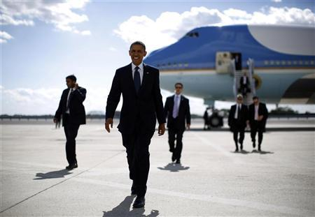 U.S. President Barack Obama arrives at JFK Airport in New York, September 24, 2012. Obama is in New York for the United Nations General Assembly. REUTERS/Jason Reed