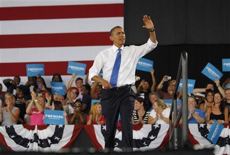 U.S. President Barack Obama participates in an election campaign rally in Virginia Beach, September 27, 2012. REUTERS/Jason Reed