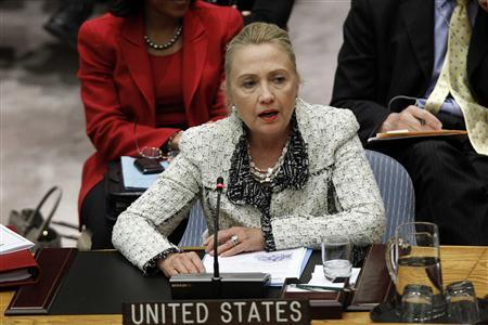 Secretary of State Hillary Clinton speaks during a Security Council meeting to discuss Peace and Security in the Middle East during the 67th United Nations General Assembly at the U.N. Headquarters in New York, September 26, 2012. REUTERS/Keith Bedford