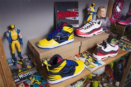 Shoes inspired by Wolverine are pictured at the ''ShoeZeum'' in downtown Las Vegas, Nevada September 25, 2012. REUTERS/Steve Marcus