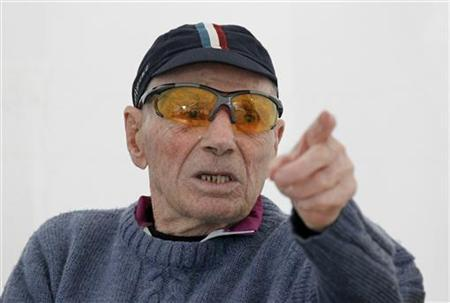 Robert Marchand, French centenarian, born November 26, 1911, and an amateur cyclist, speaks to journalists at the outdoor Tete-d'Or Velodrome track in Lyon September 27, 2012, on the eve of an attempt to establish a record for the fastest 100-year-old to cover 100km. REUTERS/Robert Pratta/Files