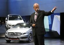 Daimler AG's Chief Executive Officer Dieter Zetsche gives a speaks next to the new Mercedes-Benz A Class model on media day at the Paris Mondial de l'Automobile September 27, 2012. REUTERS/Jacky Naegelen